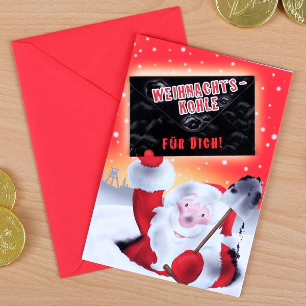 Weihnachtskarte mit Geldbrief - Weihnachtskohle