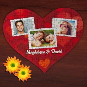 Großes Herz Puzzle mit 3 Fotos und kurzem Text