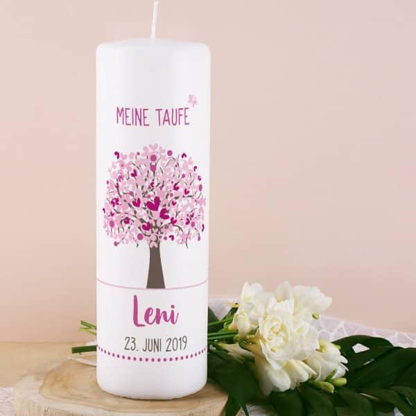 Taufkerze mit Lebensbaum in rosa, Name, Datum und Taufspruch