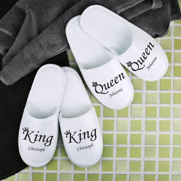 """""""King & Queen"""" Pantoffelset mit Ihren Namen"""