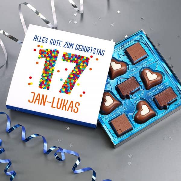 Lindt Pralinen zum 17. Geburtstag mit Wunschtext