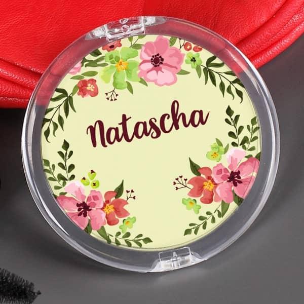 Taschenspiegel mit Watercolor-Blumenranken und Ihrem Wunschnamen