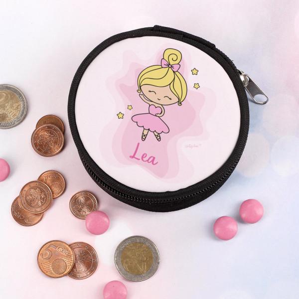 Runde Geldbörse mit Ballerina bedruckt
