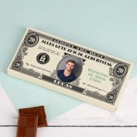 Geburtstagsschokolade mit Dollarnote Ihrem Text und Foto