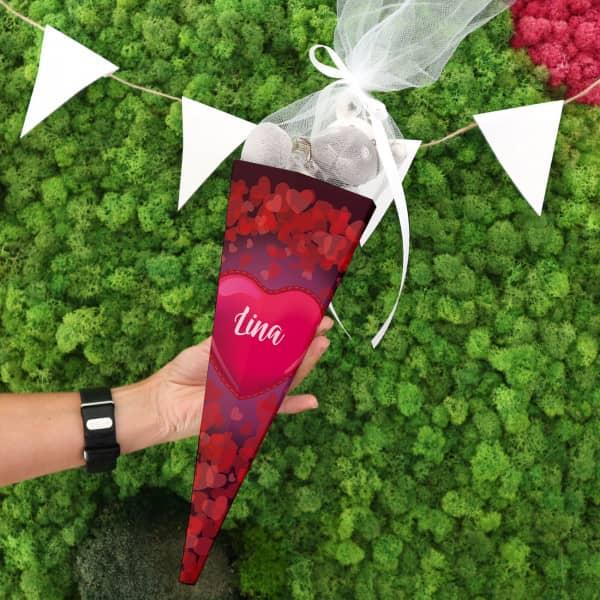 Geschwistertüte für Mädchen mit Herzen und Name