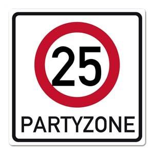 Partyschild aus PVC zum 25. Geburtstag