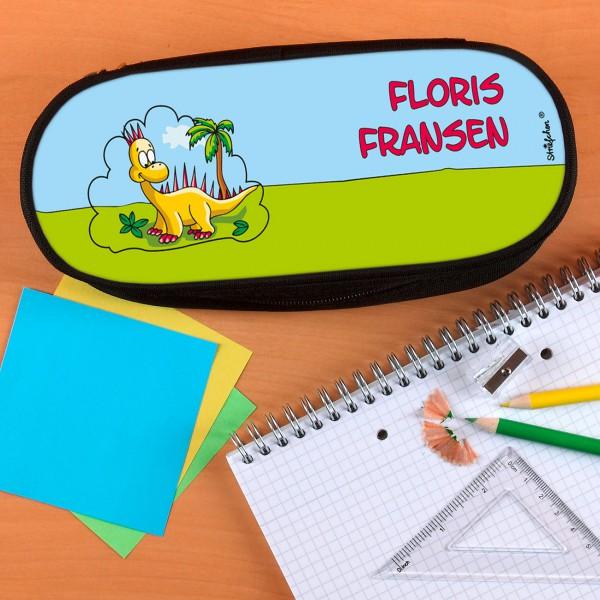Stiftebox mit niedlichem Dino und Wunschnamen