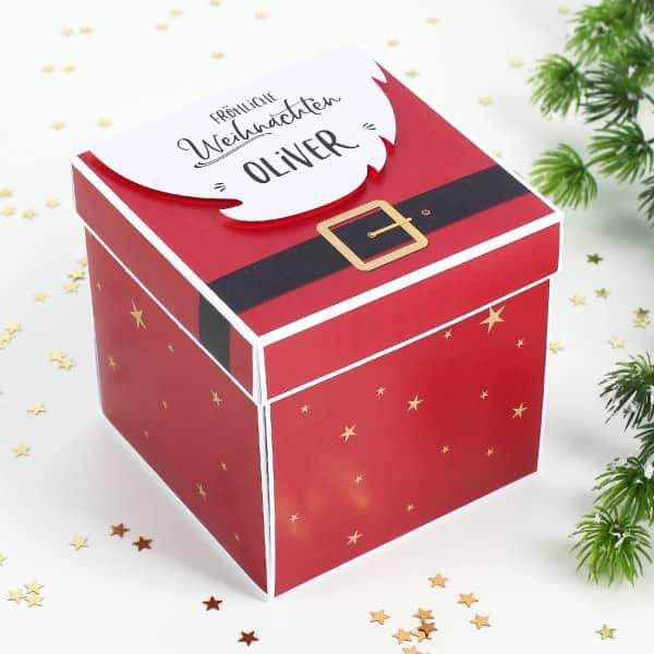 Weihnachtsmann überraschungsbox Für Geldgeschenk Gutscheine Und Glückwünsche