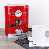 Rote Kaffeedose Espressomaschine