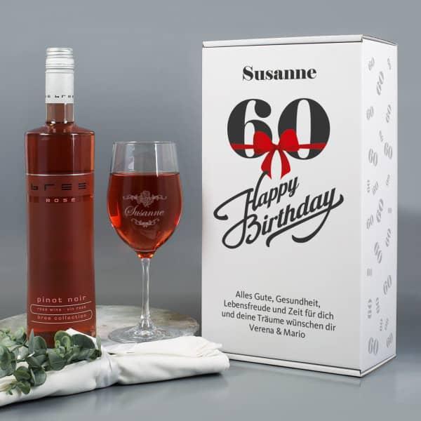 Weinset zum 60. Geburtstag mit graviertem Weinglas in Geschenkbox