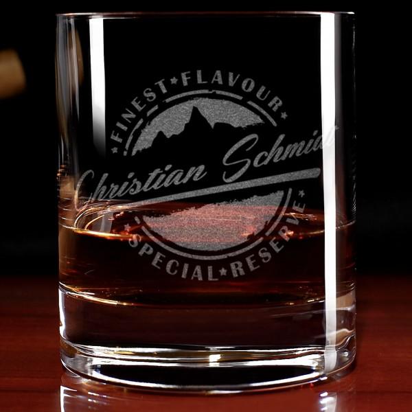 Finest Flavour und Special Reserve Whiskyglas mit Gravur
