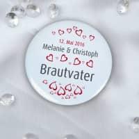 Gäste - Button zur Hochzeit mit Herzen, Namen und Datum, 56 mm
