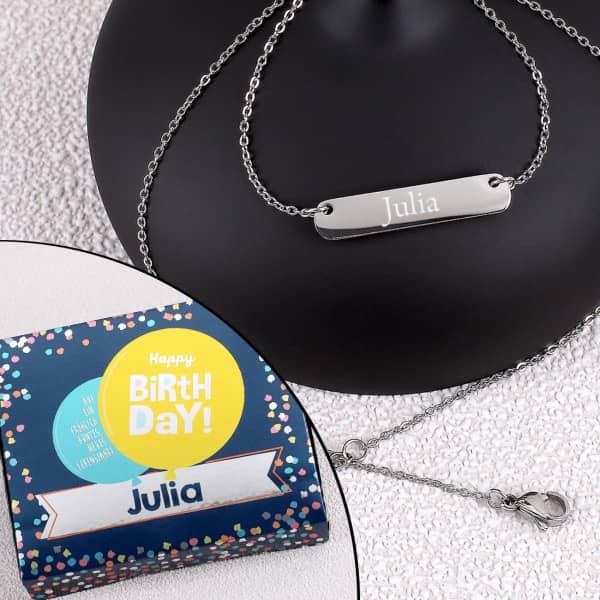 Individuellschmuck - Gravierte Halskette mit persönlicher Box zum Geburtstag - Onlineshop Geschenke online.de