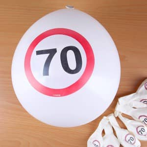 Luftballons Verkehrsschild 70
