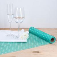 Tischläufer aus Vlies in Mint / Weiß