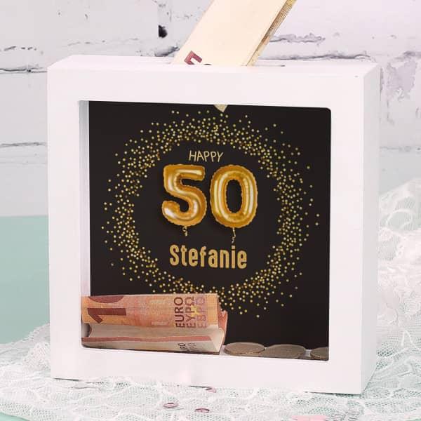 Happy 50 - Bilderrahmen Spardose zum Geburtstag mit Name, 15x15cm