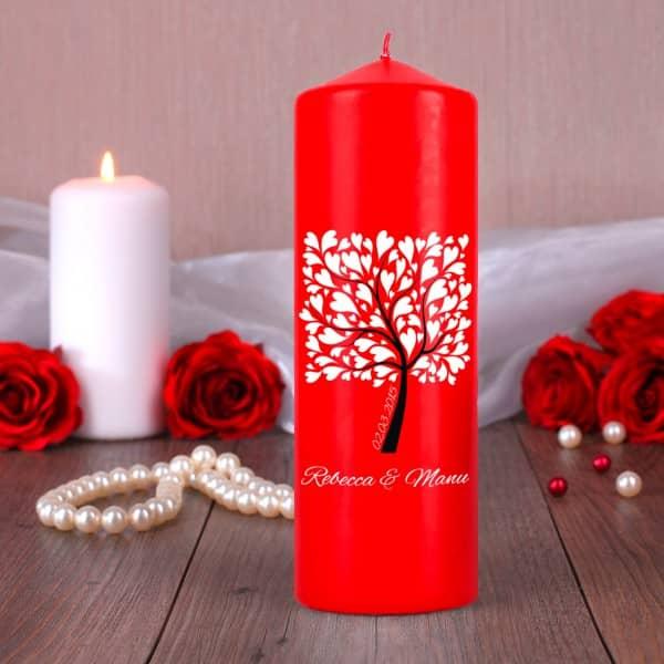 Rote Kerze zur Hochzeit mit Namensaufdruck