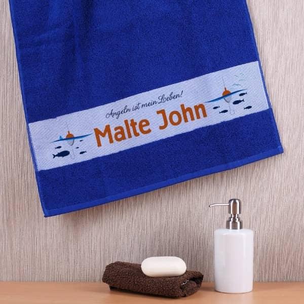 Handtuch mit Namen für Angler