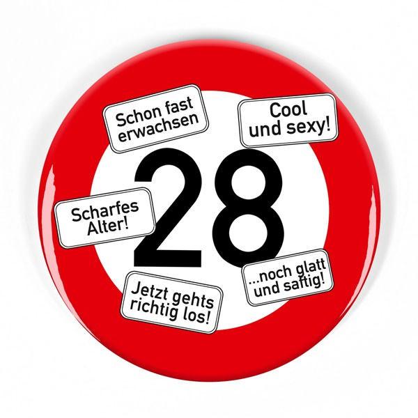 XXl Button 28 im Verkehrszeichen-Look