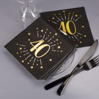 Servietten zum 40. Geburtstag - schwarz/gold-metallic