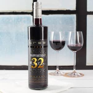 Weinflasche zum Geburtstag mit Name und Alter