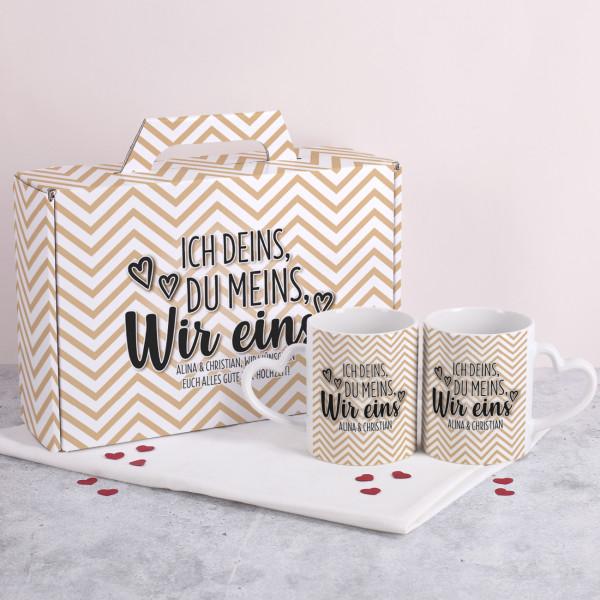 """Gechenkset """"Ich deins, Du meins, Wir eins"""" mit Paartassen in bedruckten Geschenkkoffer"""