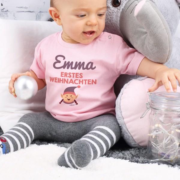 Rosa Babyshirt mit Wunschname und Weihnachtselfe