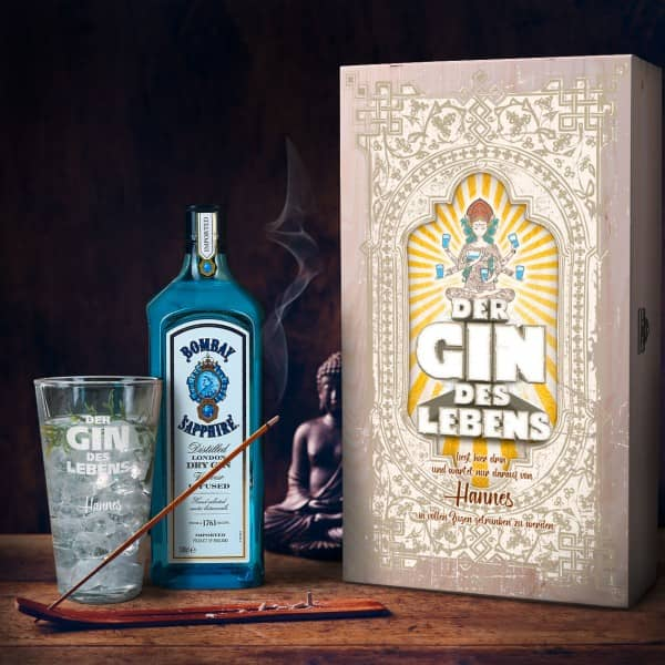 Geschenk-Set für Gin-Liebhaber mit Bombay Sapphire Gin graviertem Glas und bedruckter Holzkiste
