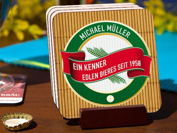 Untersetzerset für Bierkenner mit Name und Geburtsjahr