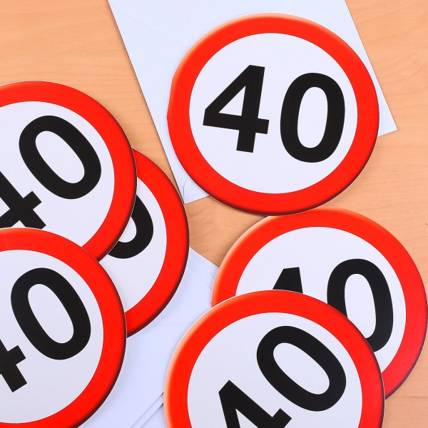 Einladungskarten Verkehrsschild zum 40.