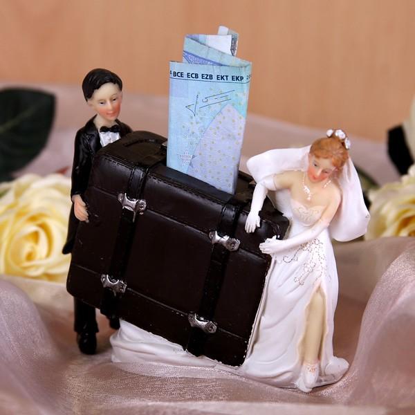 Geldgeschenk Spardose Brautpaar mit Koffer quer