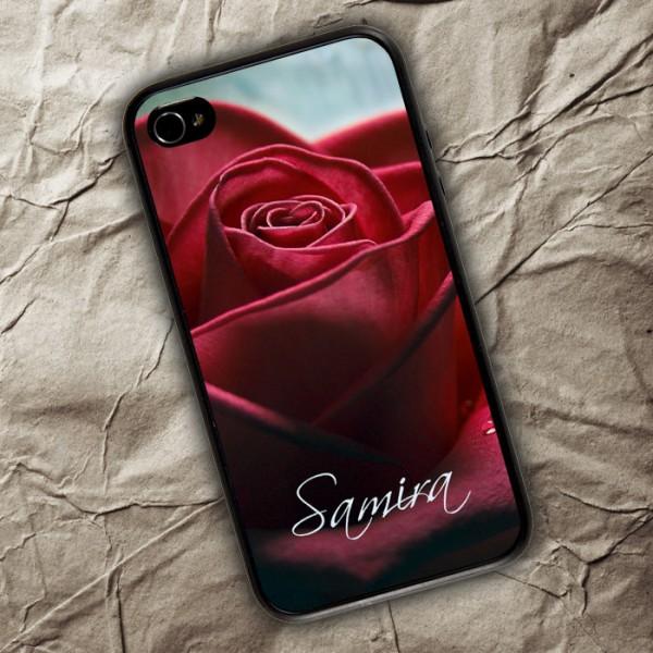 iPhone 4(s) Handyhülle mit roter Rose und Ihrem Wunschnamen