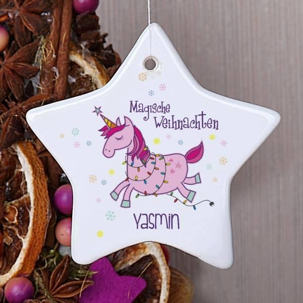 Einhorn Weihnachtstern Baumschmuck Name