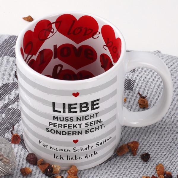 Individuellküchenzubehör - Tasse zum Valentinstag komplett bedruckt Liebe muss echt sein - Onlineshop Geschenke online.de