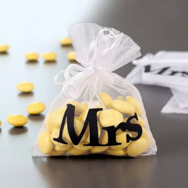 10 kleine Organza-Beutel Mrs Gastgeschenk zur Hochzeit