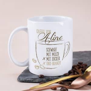 Tasse für Wunschkaffee mit Name und Text