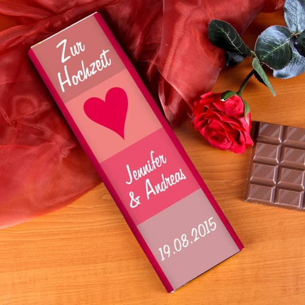 300g Schokolade als Geschenk zur Hochzeit mit Wunschnamen und Datum