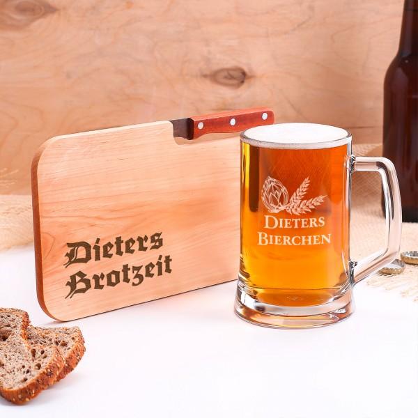 Bierkrug und Messerbrettchen mit Gravur