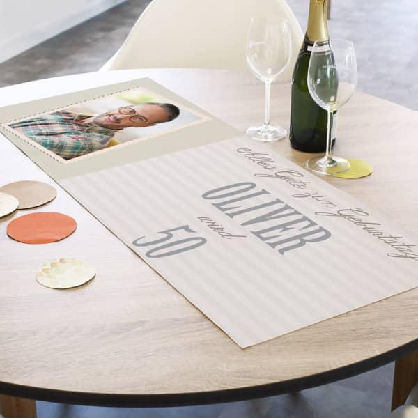 Tischläufer zum Geburtstag mit Foto, Name und Alter