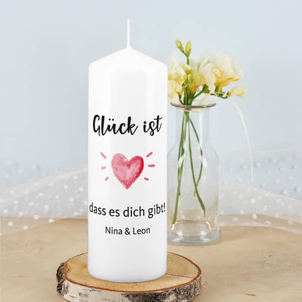 Glück ist... Kerze mit 2 Zeilen Wunschtext