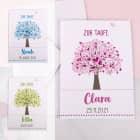 Klappkarte zur Taufe mit Lebensbaum in drei verschiedenen Farben