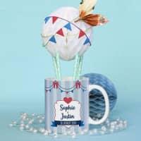 Tasse in Heißluftballon-Optik für Geldgeschenke zur Hochzeit