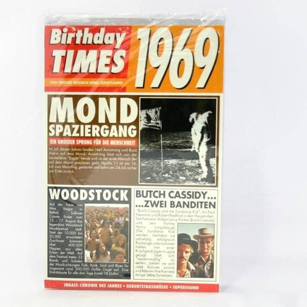 Birthday Times Karte 1969
