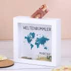 Bilderrahmen Spardose mit Weltkarte