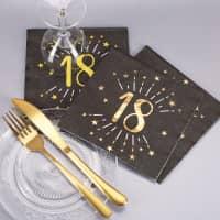 Servietten zum 18. Geburtstag - schwarz/gold-metallic