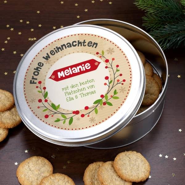 Geschenkdose Frohe Weihnachten mit Ihrem Wunschtext