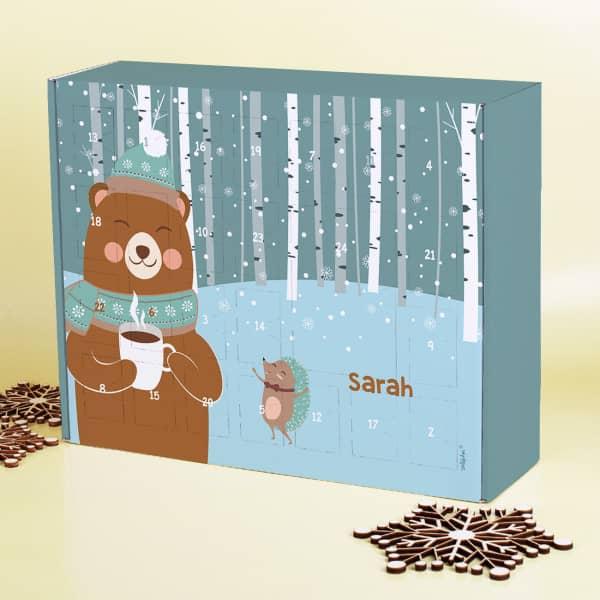DIY Adventskalender zum selbst Befüllen mit niedlichem Bären und Igel