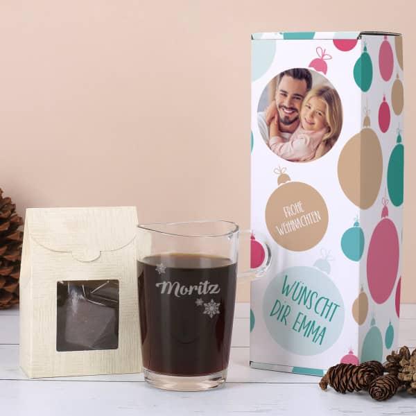 Kaffee Set zu Weihnachten mit Namensgravur und Wunschfoto