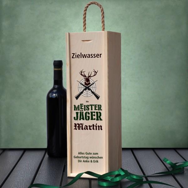 Flaschen - Holzbox für Jäger mit Name und Text