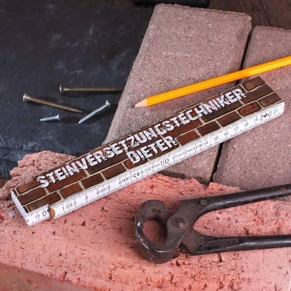 Zollstock für Steinversetzungstechniker mit Wunschnamen